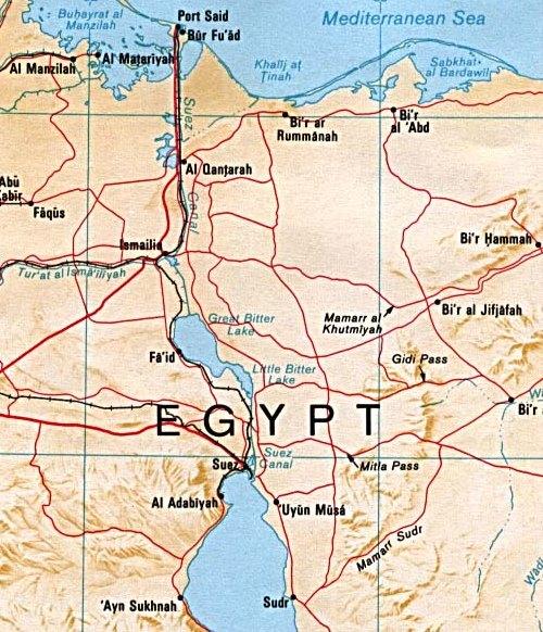 Il canale di Suez in una mappa della CIA (1992)