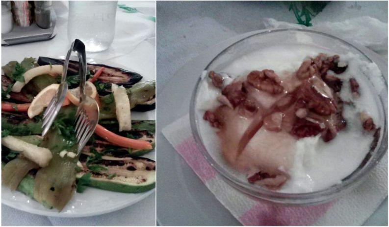 Verdure grigliate e yogurt di capra con miele e noci.