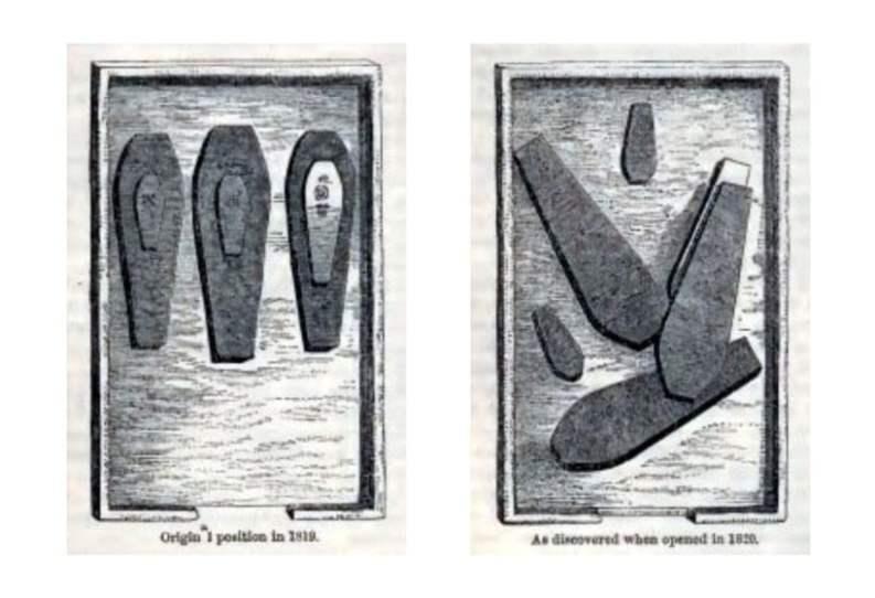 """il vault prima e dopo l'apertura del 1820, da """"Once a Week"""" del 1865"""