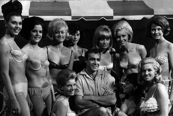 Sean Connery with Bond Girls harem