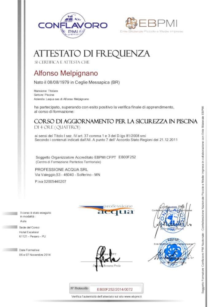Corso di Aggiornamento per la Sicurezza in Piscina - Conflavoro - EBPMI - 7 Novembre 2014