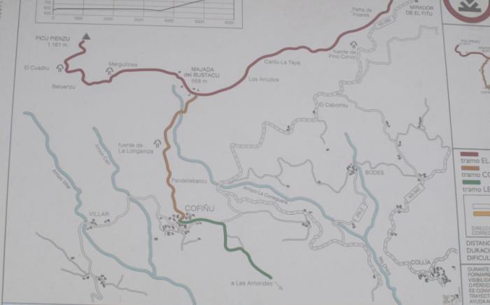 Map of walking to Pienzu Peak