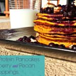 Pumpkin Protein Pancakes with blueberry and pecan toppings