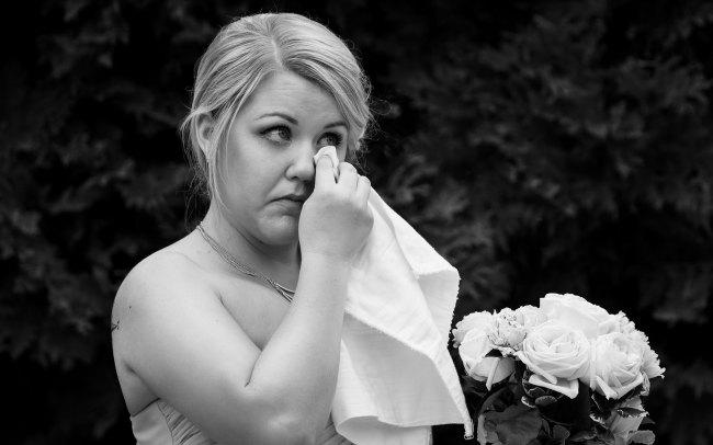 wedding ceremony bridesmaid crying