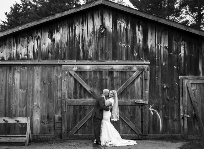 country club bride and groom wedding portrait