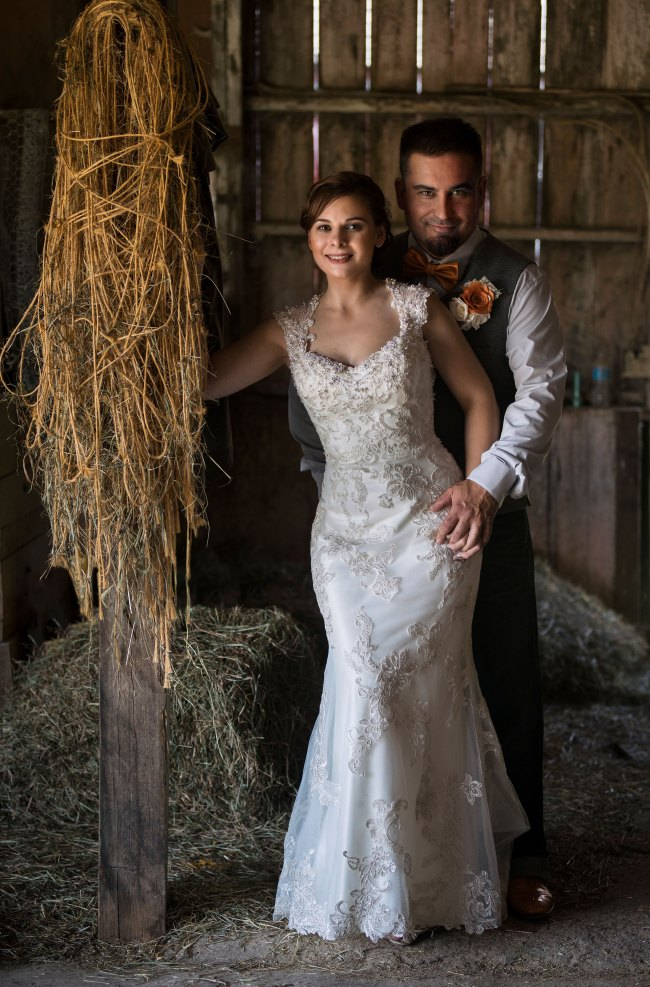 wedding photo in barn at Bunnell Farm in Litchfield