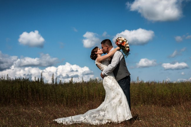 First kiss in field at Bunnell Farm in Litchfield
