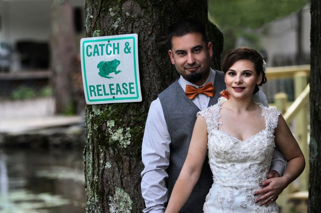 Funny wedding photo - catch and release