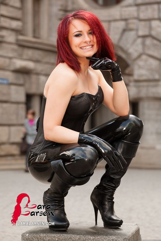 Leather Corset and Latex  Photography in Latex Fashion of Lara Larsen