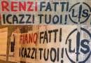 Salerno. Striscione di Lotta Studentesca contro Renzi e Fiano