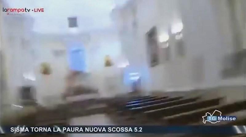 (VIDEO) Montecilfone. La seconda scossa nella Chiesa di San Giorgio ripresa da TeleMolise
