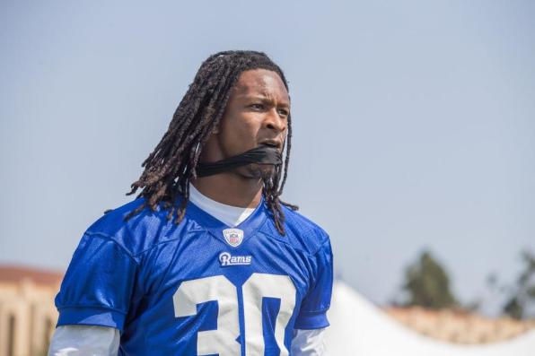 HB #30 Todd Gurley under hans første training camp (Image credit: Jeff Lewis / therams.com)