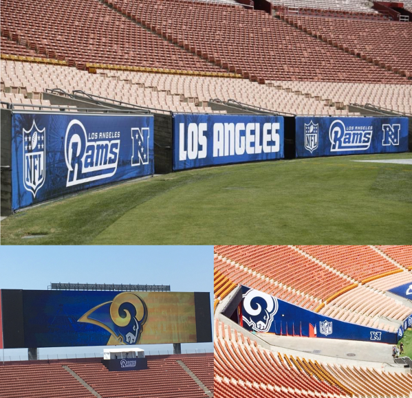 The Coliseum beklædt i LA Rams farver (Photo credits: top: Ric Tapia / www.therams.com. Bottom left: Rich Hammond / twitter @Rich_Hammond. Bottom right: Gary Klein / twitter @LATimesklein)