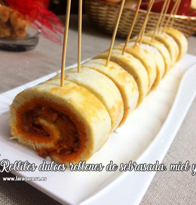 Rollitos dulces rellenos de sobrasada, miel y queso