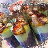 Vasitos de emulsion de patatas violetas y blancas con pulpo