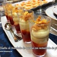 Vasitos de brandada de bacalao con mermelada de pimientos