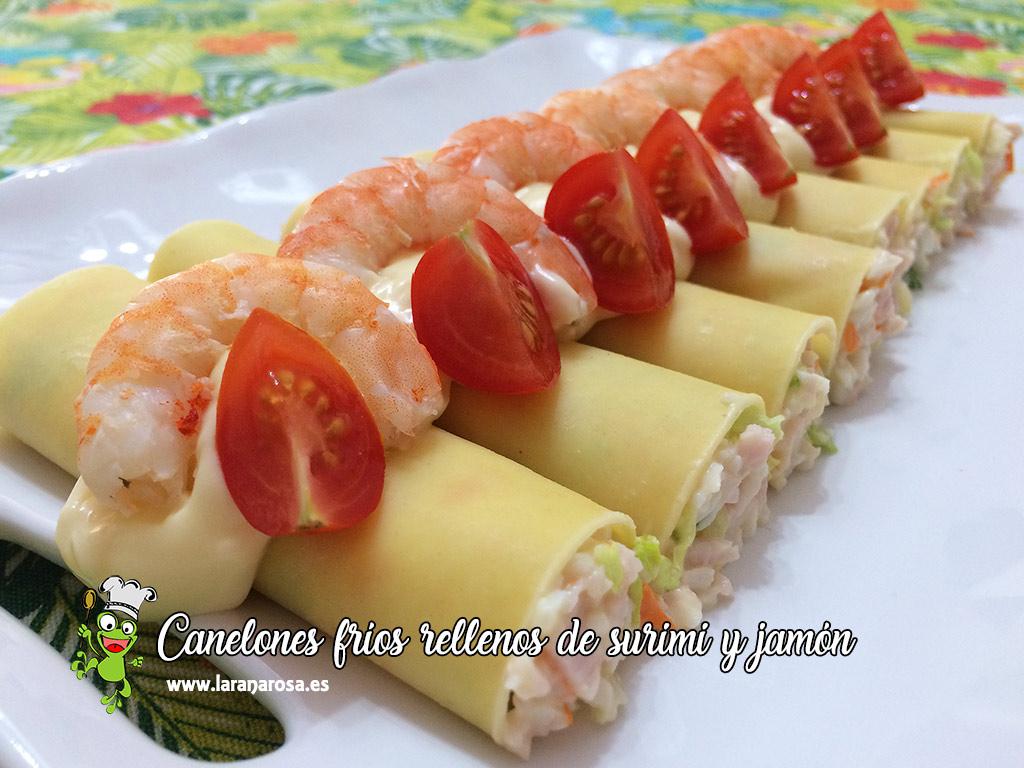 Canelones fríos rellenos de surimi y jamón