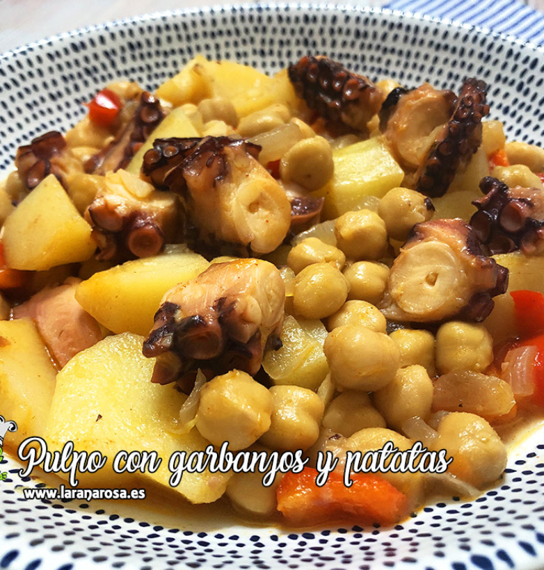 Pulpo con garbanzos y patatas