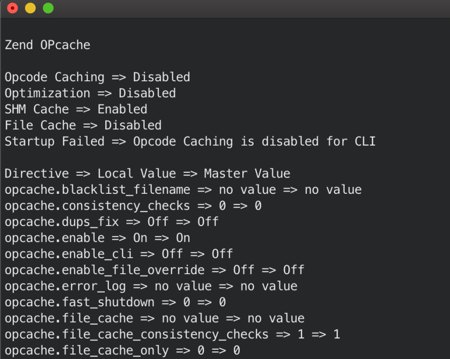 OPcache en terminal PHP