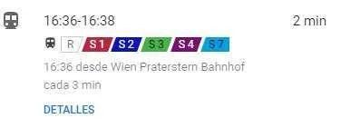 En tren en Viena aparece en Google Maps con una S. Cada línea la identifica con un color y un número.