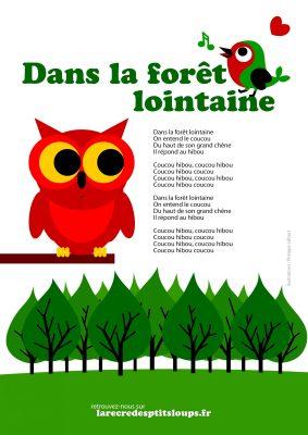 Dans la forêt lointaines paroles à imprimer gratuitement en haute résolution