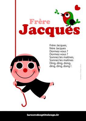 Frère Jacques paroles de la comptine à télécharger et imprimer gratuitement au format a4 pour les classes de maternelle