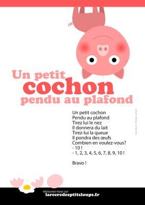 un petit cochon pendu au plafond paroles de la comptine à télécharger et imprimer gratuitement au format A4 pour les classes de l'école maternelle