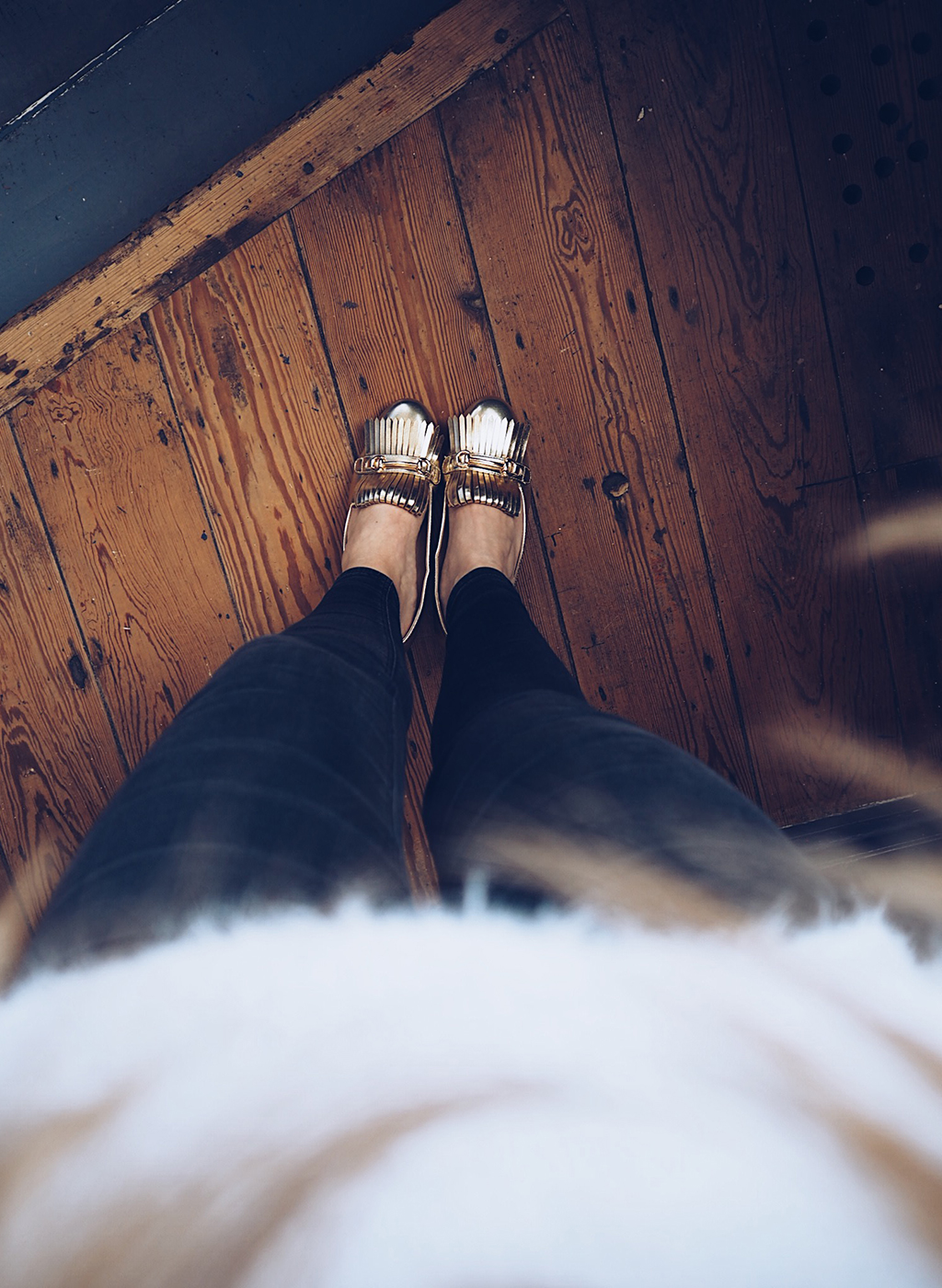 Boohoo gold loafers