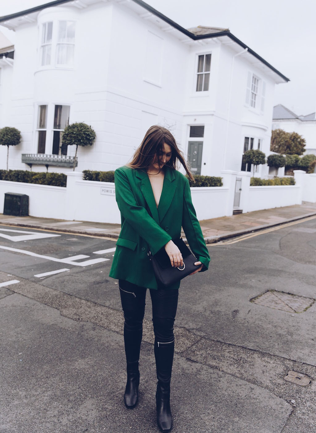 hm green oversized blazer