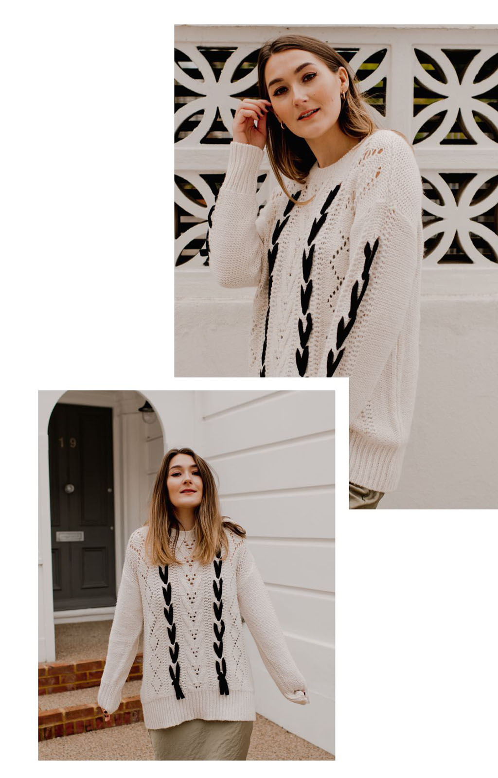 Matalan contrast lace up cable knit jumper lareese craig fashion blogger