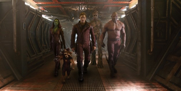 Marvel's Guardians Of The Galaxy L to R: Gamora (Zoe Saldana), Rocket Racoon (voiced by Bradley Cooper), Peter Quill/Star-Lord (Chris Pratt), Groot (voiced by Vin Diesel) and Drax the Destroyer (Dave Bautista) Ph: Film Frame ©Marvel 2014