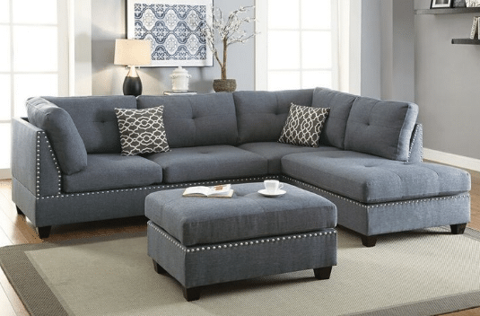ARISE IV SERIES 5 SEATER FABRIC SPACIOUS SECTIONAL SOFA CENTRE OTTOMAN