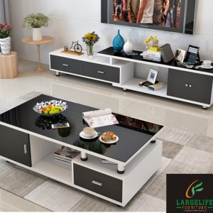 Alli Series Entertainment unit & Coffee Table Set (with High Gloss Top & drawer face finish)