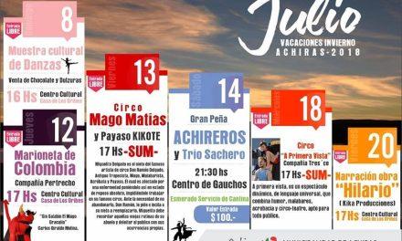Achiras lanzó su programación cultural para las vacaciones de invierno