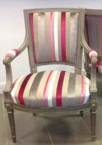 Trasimeno tissu ameublement velours rayures fauteuil