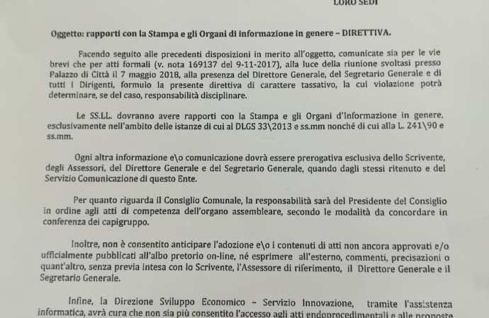 Comune di Taranto, quell'inutile direttiva sui rapporti con la stampa