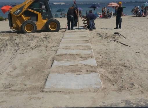 Viale del Tramonto, le pedane sulla sabbia