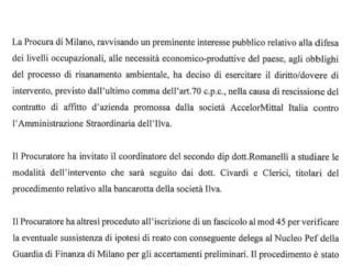 Ex Ilva, la Procura di Milano apre un'inchiesta