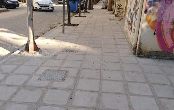 Ολοκαίνουργια πεζοδρόμια στη Λάρισα - ΦΩΤΟ