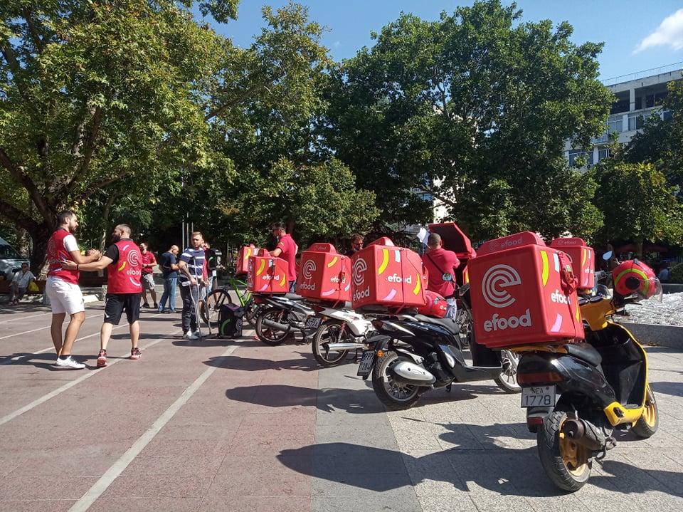 Χαμός από ντελιβεράδες στη Λάρισα με κόρνες και διαμαρτυρίες - ΦΩΤΟ