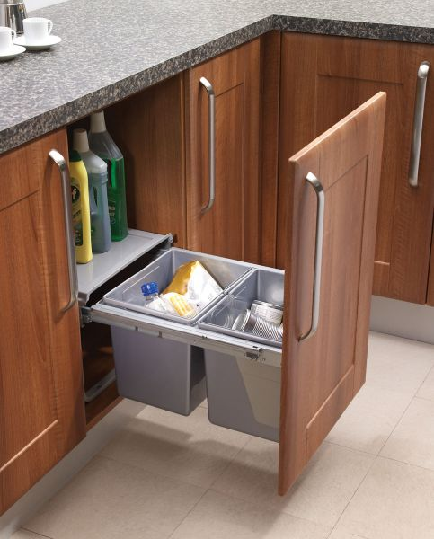 Low Pull Out Kitchen Waste Bins  30 litres