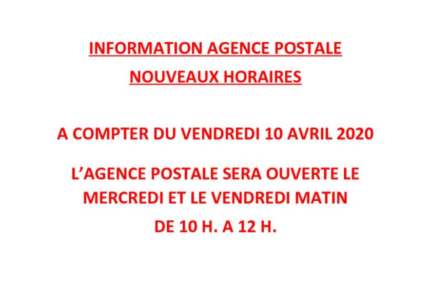 thumbnail of INFORMATION AGENCE POSTALE