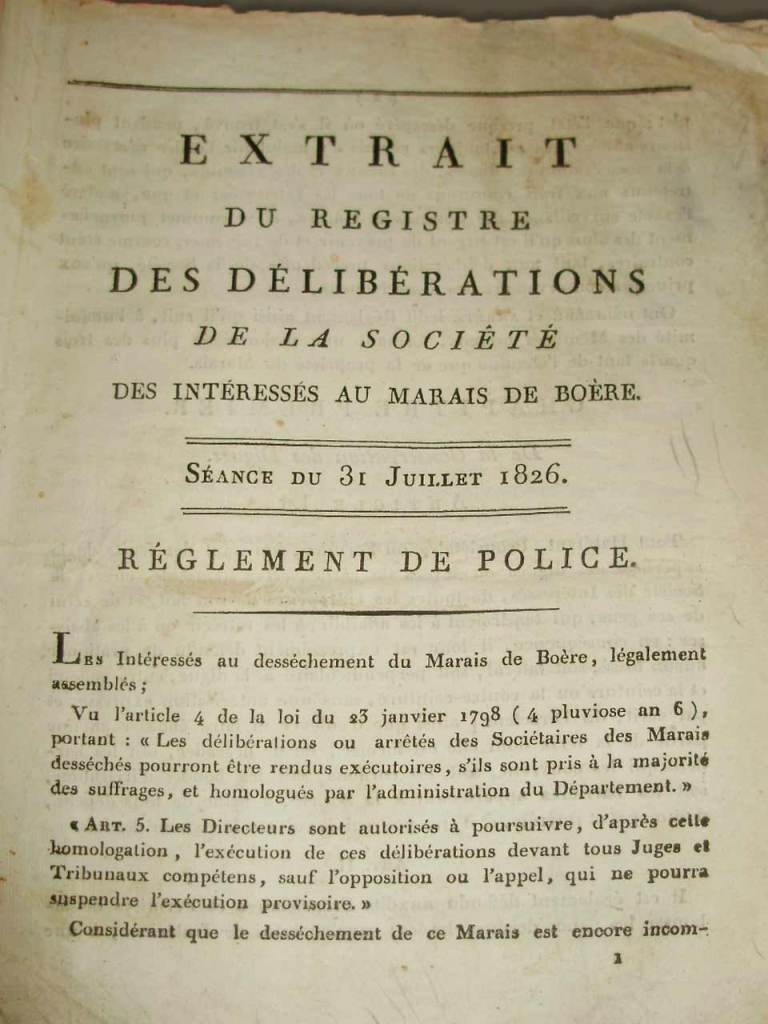Marais de Boëre, délibérations de juillet 1826