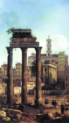 """As with the Roman Empire, which collapsed in the 5th Century, today's hyperinflated British Empire has reached the fag end of its tyrannies. Either it will soon disappear, or the entire planet will sink into a prolonged, global nightmare, a new """"Dark Age."""" Shown: """"Rome: Ruins of the Forum, Looking towards the Capitol,"""" by Canaletto, 1742."""