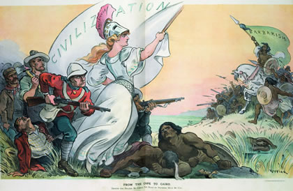 "Library of Congress Britain is a maritime form of empire, LaRouche writes, an international dictatorship imposed upon a collection of otherwise, ostensibly separate nations, as seen in the post-Westphalian, euro system today. This 1902 Puck cartoon depicts ""Britannia,"" as ""Civilization"" crushing the ""Barbarians."""