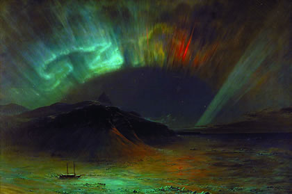 "Recent investigations bearing on the role of cosmic radiation ""permeating what is never, and nowhere a part of 'empty space,' now depend on deeper insight into the conclusive quality and forward-looking implications of the apparent qualitative divisions, and interrelations among the Lithosphere, Biosphere, and Noösphere,"" within our galaxy. Shown: ""Aurora Borealis,"" by Frederic Edwin Church, 1865."