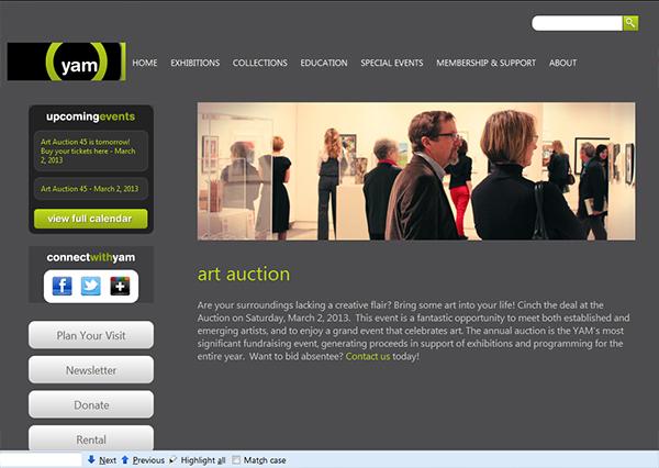 YAM auction web page