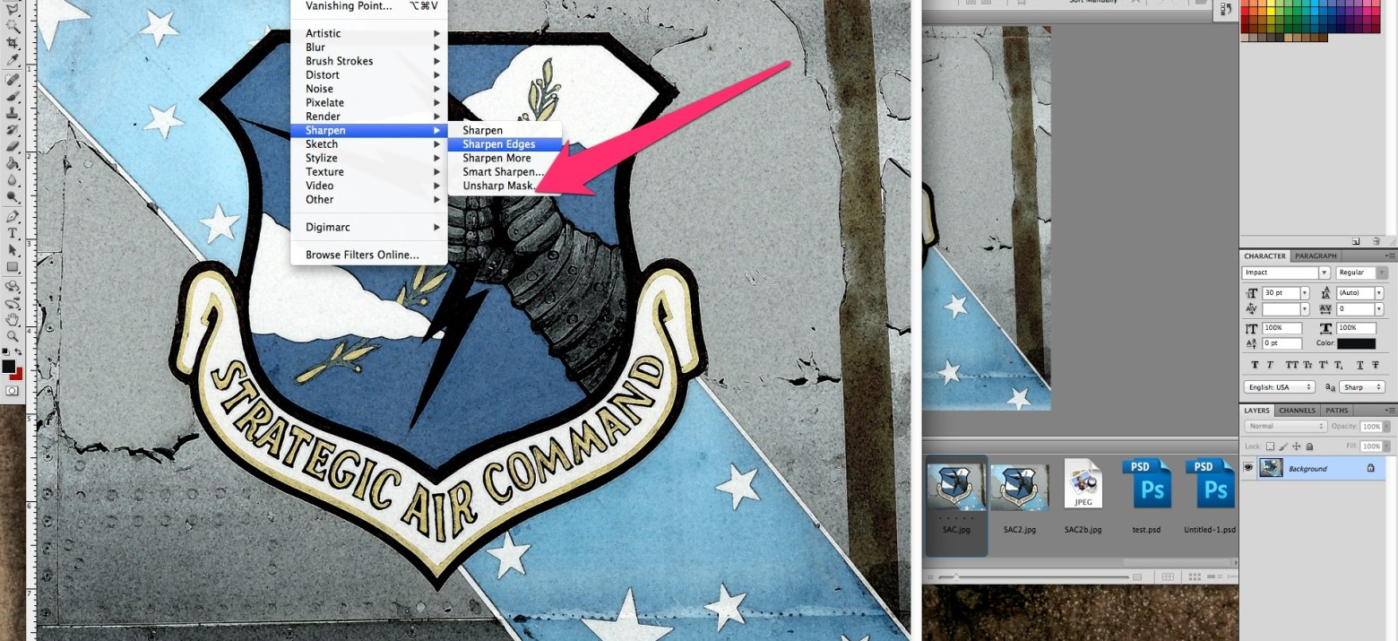 Adobe Photo Unsharpen Mask Location
