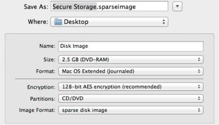 Sparse Image Dialog Box