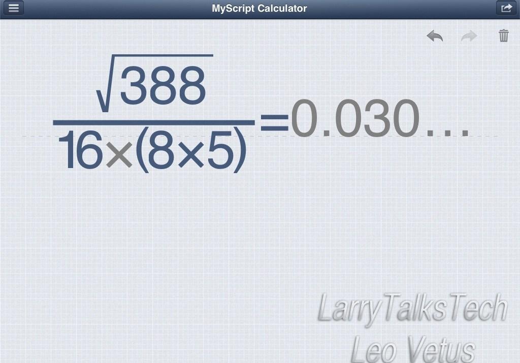 MyScript Calculator Output